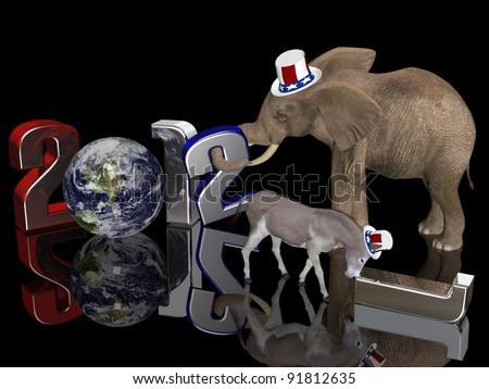 Year of the Republican 2012. Political donkey pushing a fallen 1 away while an elephant sets a 2 in place. Isolated on a black background. - stock photo