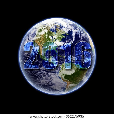 Year 2016 on earth - elements of this image furnished by NASA