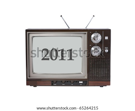 Year 2011 on old TV screen - stock photo