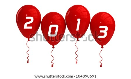 Year 2013 Red Balloons - stock photo