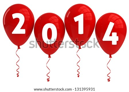 Year 2014 Red Balloons - stock photo