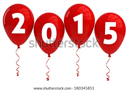 Year 2015 Red Balloons - stock photo