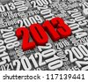 Year 2013 red 3D text surrounded by other dates. Part of a series. - stock photo