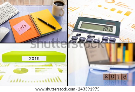 Year resolutions 2015 for work planning, business collection theme images, collage set of four photos - stock photo