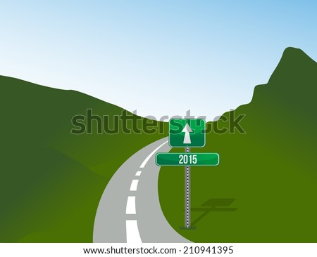 year 2015 road illustration design over a landscape background
