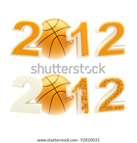 Year 2012 sign: numbers crashed by basketball ball isolated on white