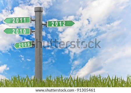 year signs pointing