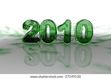 Year 2010 Symbol in Green Glass
