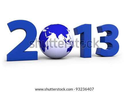 Year 2013 with a blue world globe instead of a Zero - stock photo