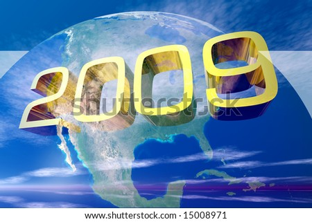 Year 2009 with Earth in background map courtesy nasa - stock photo