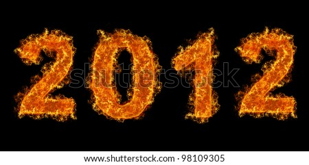 Year 2012 with fire on black background - stock photo