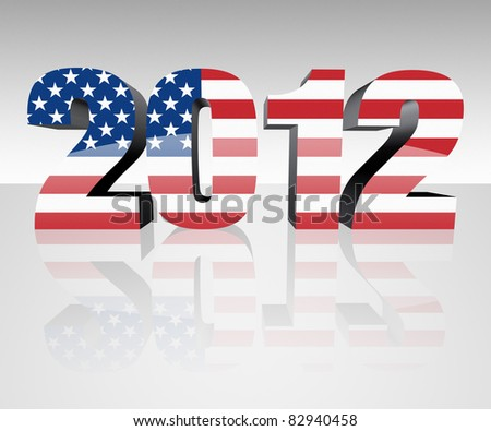 Year 2012 with flag wrapped over it to promote voting in the presidential election. Patriotic image.
