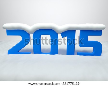 Year 2015 with snow on the top. 3d rendered image
