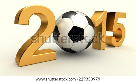 Year 2015 with soccer ball on the white background - stock photo