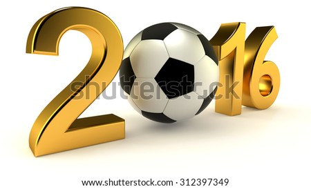 Year 2016 with soccer ball on the white background - stock photo