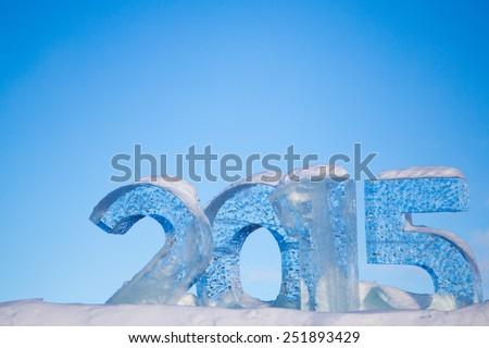Year 2015 written in Ice - stock photo