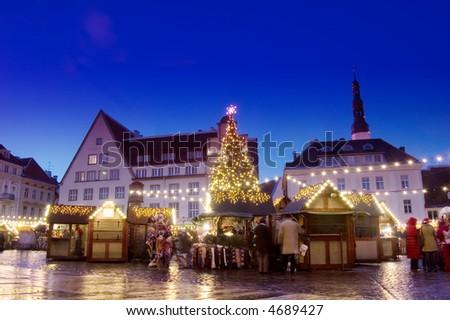 Yearly christmas market in Tallinn, Estonia - stock photo