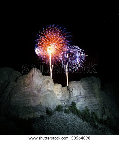 Yearly 4th of July fire works show at famous Mt. Rushmore National Park in the Black Hills of South Dakota. - stock photo