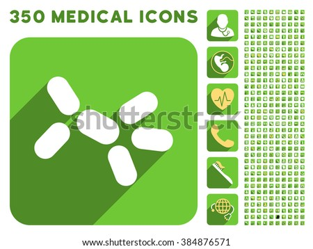 Yeast icon and 350 glyph medical icons collection. Style is white and yellow flat symbols on rounded square green buttons with longshadow. - stock photo