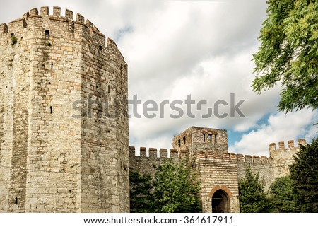 Yedikule Fortress (Castle of Seven Towers) in Istanbul, Turkey - stock photo