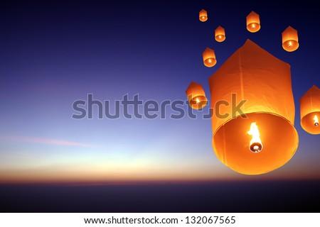 Yee Peng Firework Festival in Chiangmai Thailand - stock photo
