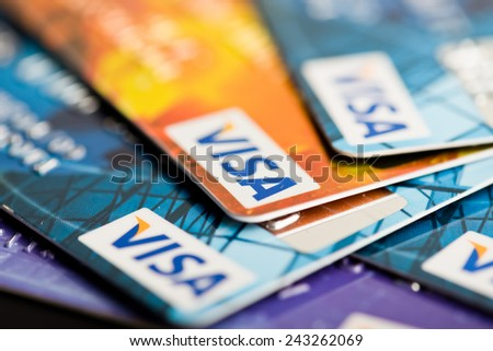 YEKATAERINBURG, RUSSIA - JAN 07, 2015: Pile of Visa credit cards. Visa is biggest credit card companie in the world.  - stock photo