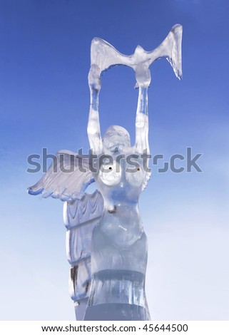YEKATERINBURG - JANUARY 15: Competition ice sculptures, works of the best sculptors of the Ural ranked prizes january 15, 2010 in Yekaterinburg, Russia - stock photo