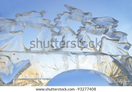 """YEKATERINBURG - JANUARY 03: """"Fairy dragon"""" by Aleksei Smirnov, annual competition of ice shapes, January 03, 2012 in Yekaterinburg, Russia - stock photo"""