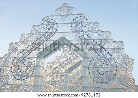 """YEKATERINBURG - JANUARY 03: """"Fantastic Gate"""" by Igor Belov, annual competition of ice shapes, January 03, 2012 in Yekaterinburg, Russia - stock photo"""