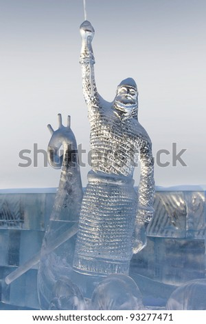 """YEKATERINBURG - JANUARY 03: """"Miracle"""" by Oleg Klavdeev, annual competition of ice shapes, January 03, 2012 in Yekaterinburg, Russia - stock photo"""