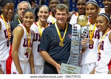 YEKATERINBURG - OCTOBER 11: The female basketball combined team of USA (coach Auriema)wins the International tournament in UMMC CUP October 11, 2009 in Yekaterinburg, Russia