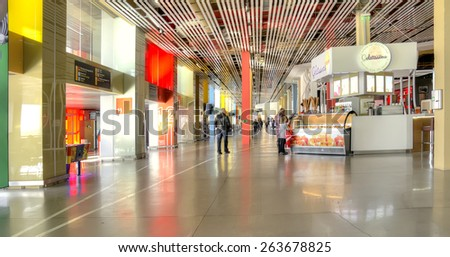 YEKATERINBURG, RUSSIA - March 23.2015: Interior waiting room at the airport Koltsovo - stock photo