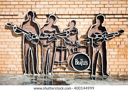 YEKATERINBURG, RUSSIA - MARCH 30 2016: Monument to The Beatles in Yekaterinburg, Russia. Monument was installed on May 23, 2009, and this is the first monument to The Beatles in Russia. - stock photo
