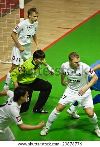 YEKATERINBURG, RUSSIA - NOV 11. UEFA Futsal Cup 2008-2009 game between VIZ-Sinara (Yekaterinburg) and Luparense (Italy). Viz-Sinara won 5:3 on November 11, 2008. - stock photo