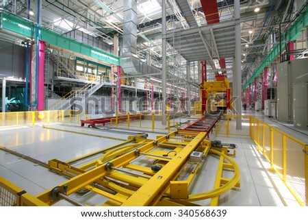 Yelabuga, Russia - 05 may 2008: interior of the new welding shop assembly line car factory Sollers
