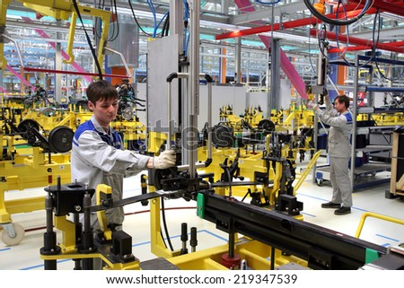 """Yelabuga, Russia - May 16, 2008: The launch vehicle assembly line conveyor plant SOLLERS-ELABUGA in the special economic zone """"Alabuga"""" in May 2008 - stock photo"""