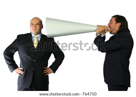 Yelling down the megaphone - stock photo