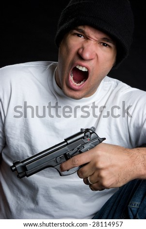 Yelling Gun Man - stock photo