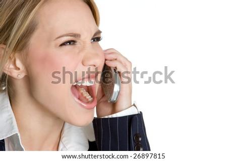 Yelling Phone Woman - stock photo