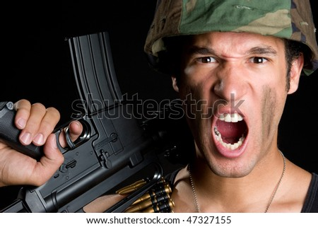Yelling Soldier - stock photo
