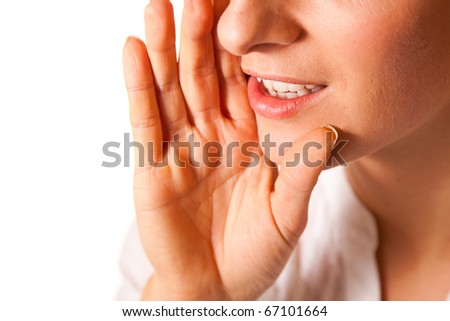 Yelling woman mouth closeup - stock photo