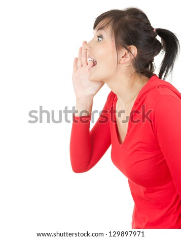 yelling young woman with hand near mouth, white background - stock photo
