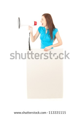 yelling young woman with megaphone and empty poster, white background - stock photo