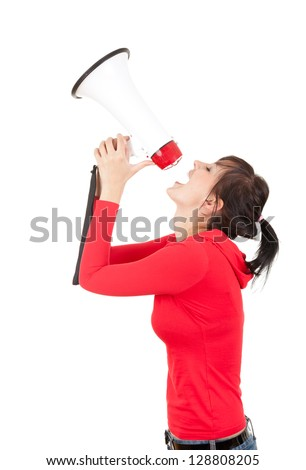 yelling young woman with megaphone, white background - stock photo