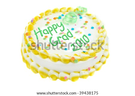 Yelllow and white frosted festive cake celebration graduation year of 2010 isolated on a white background