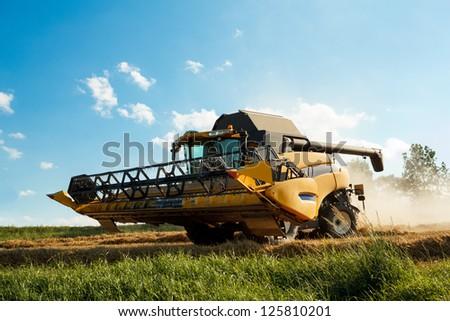 Yellov combine on field harvesting wheat in sunny weather - stock photo