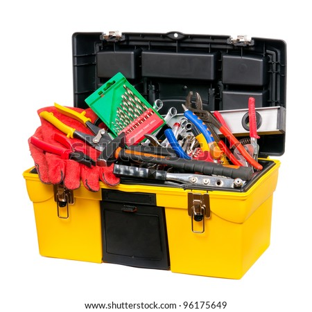 Yellow, a plastic box filled with tools. Isolated. - stock photo