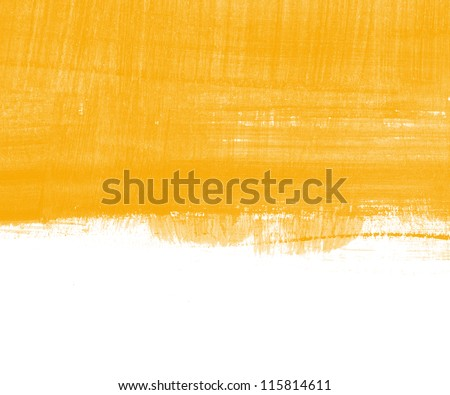 Yellow abstract hand painted background texture