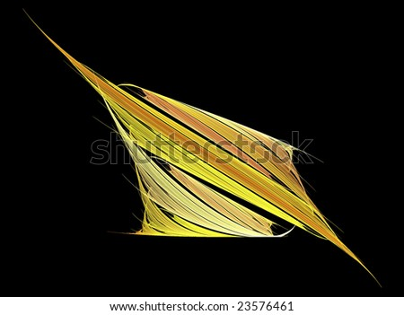 Yellow abstract shape angled on black background