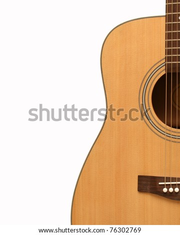 Yellow Acoustic Guitar - stock photo